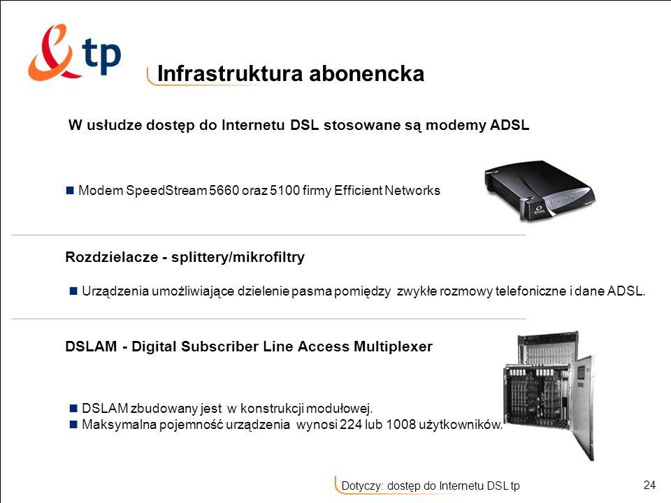 24 Dotyczy: dostęp do Internetu DSL tp Infrastruktura abonencka W usłudze dostęp do Internetu DSL stosowane są modemy ADSL Modem SpeedStream 5660 oraz