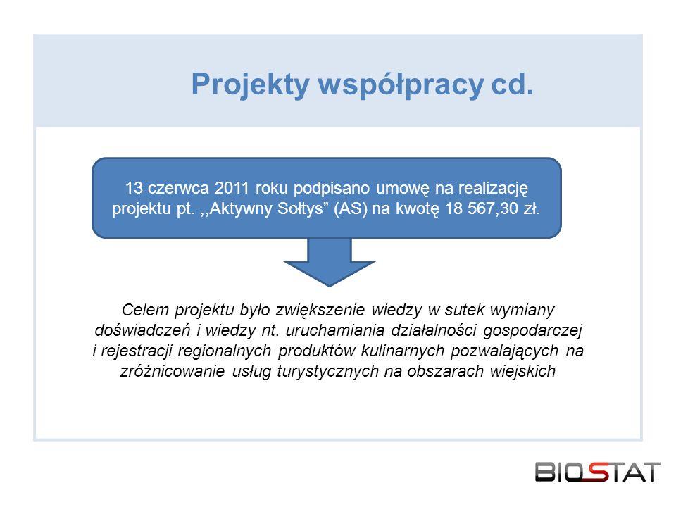 Projekty współpracy cd. Celem projektu było zwiększenie wiedzy w sutek wymiany doświadczeń i wiedzy nt. uruchamiania działalności gospodarczej i rejes