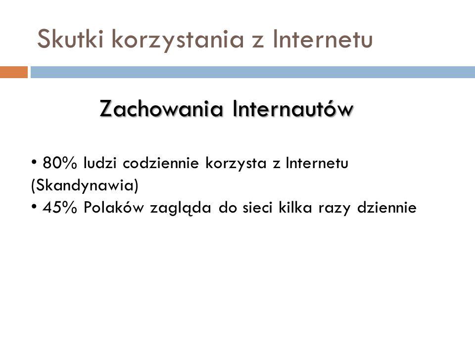 Skutki korzystania z Internetu Zachowania Internautów 80% ludzi codziennie korzysta z Internetu (Skandynawia) 45% Polaków zagląda do sieci kilka razy