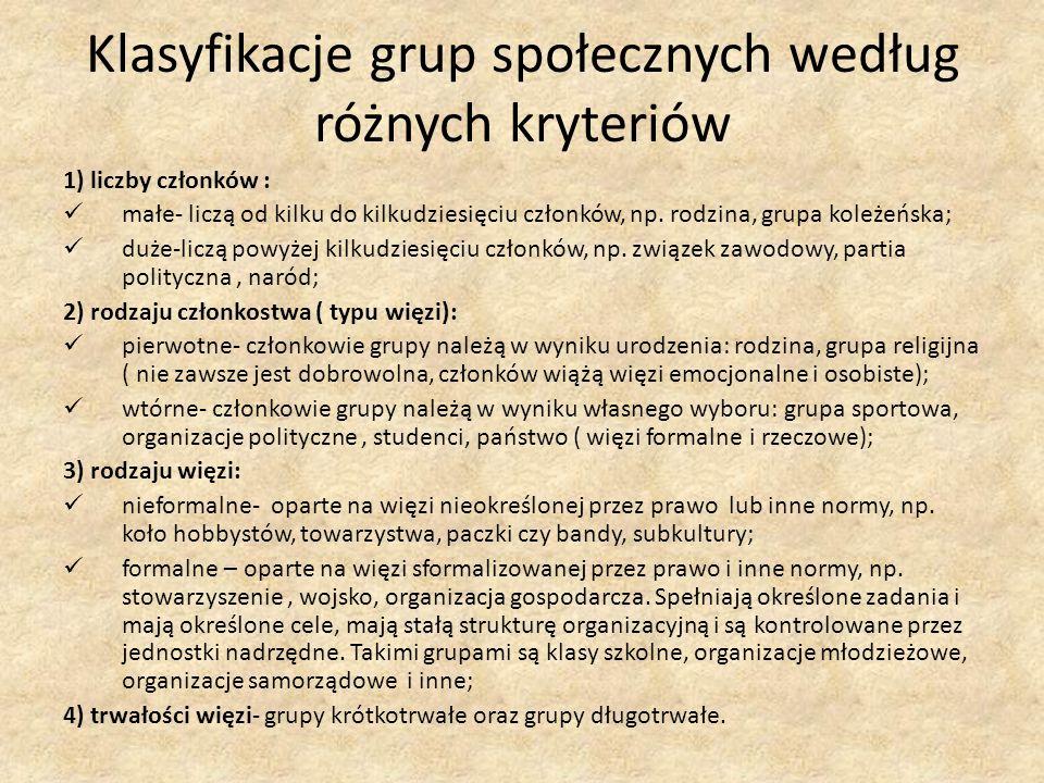 Klasyfikacje grup społecznych według różnych kryteriów 1) liczby członków : małe- liczą od kilku do kilkudziesięciu członków, np. rodzina, grupa koleż
