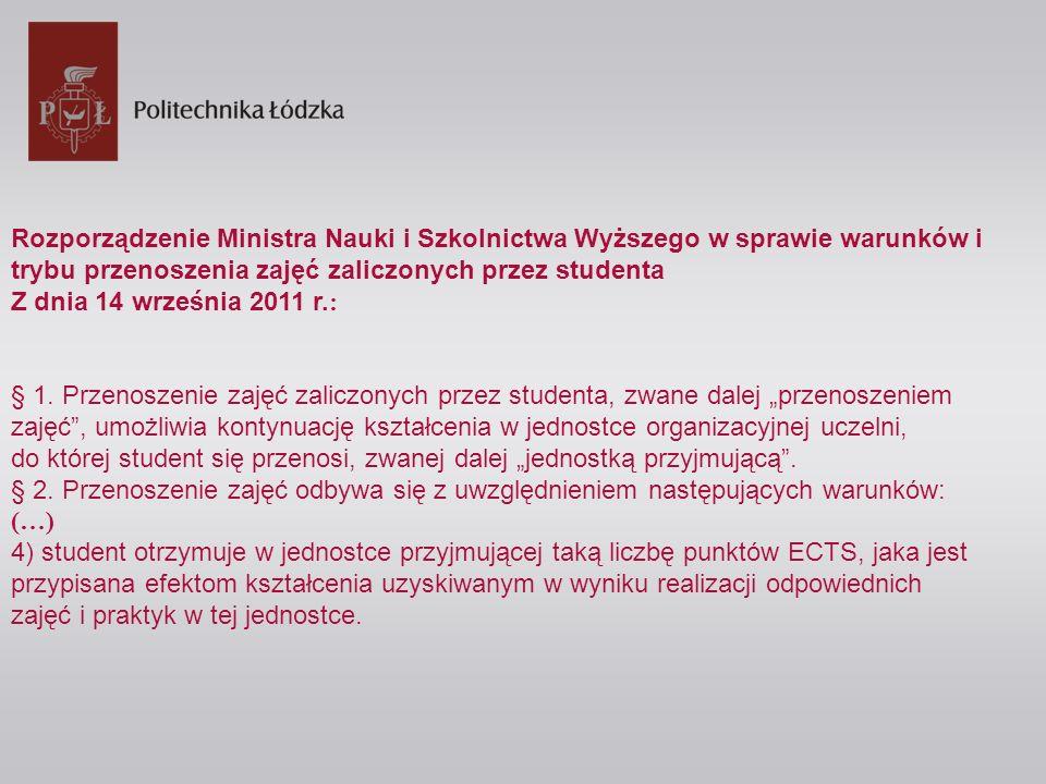 Rozporządzenie Ministra Nauki i Szkolnictwa Wyższego w sprawie warunków i trybu przenoszenia zajęć zaliczonych przez studenta Z dnia 14 września 2011