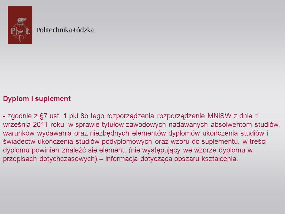 Dyplom i suplement - zgodnie z §7 ust. 1 pkt 8b tego rozporządzenia rozporządzenie MNiSW z dnia 1 września 2011 roku w sprawie tytułów zawodowych nada