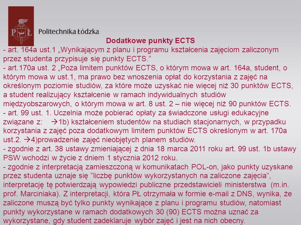 Dodatkowe punkty ECTS - art. 164a ust.1 Wynikającym z planu i programu kształcenia zajęciom zaliczonym przez studenta przypisuje się punkty ECTS. - ar