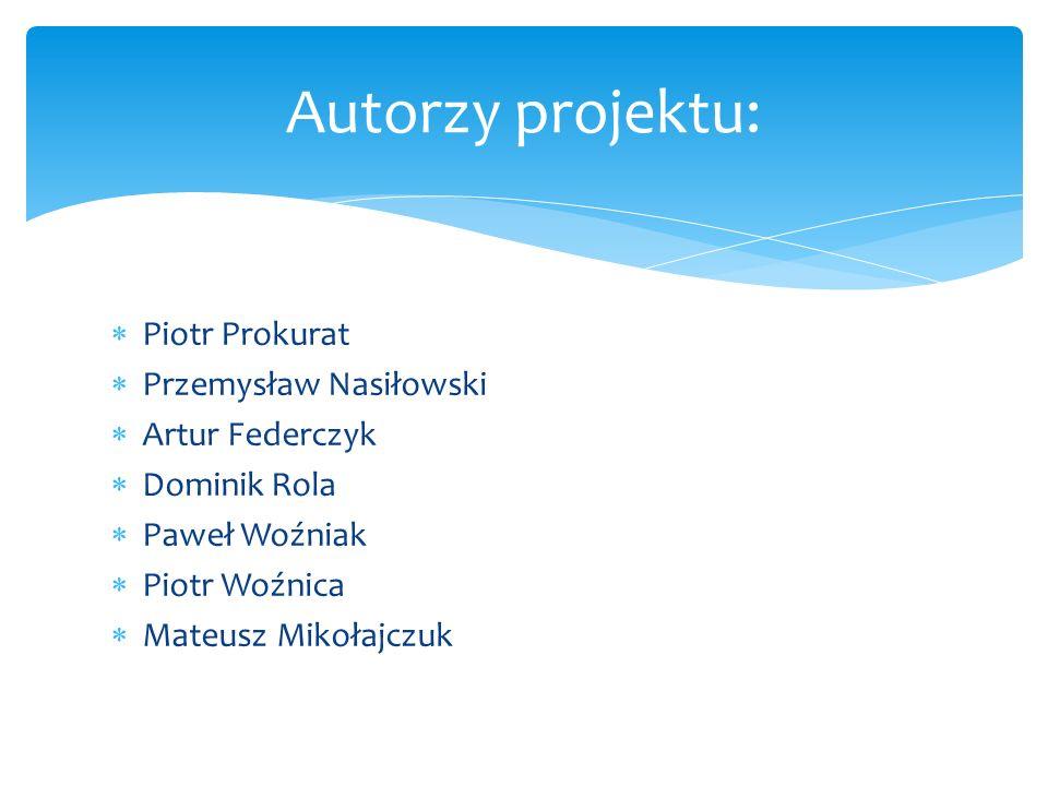 Piotr Prokurat Przemysław Nasiłowski Artur Federczyk Dominik Rola Paweł Woźniak Piotr Woźnica Mateusz Mikołajczuk Autorzy projektu: