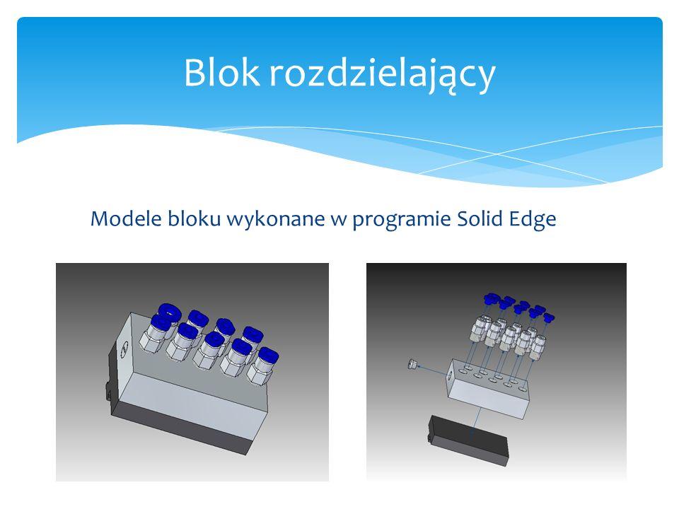 Rysunek złożeniowy modelu wykonanego w programie Solid Edge. Blok rozdzielający