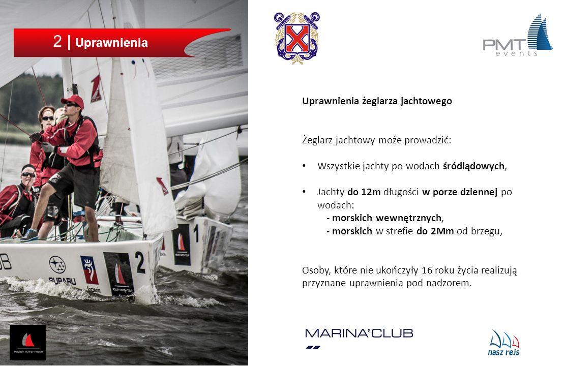 2 | Uprawnienia Uprawnienia żeglarza jachtowego Żeglarz jachtowy może prowadzić: Wszystkie jachty po wodach śródlądowych, Jachty do 12m długości w por