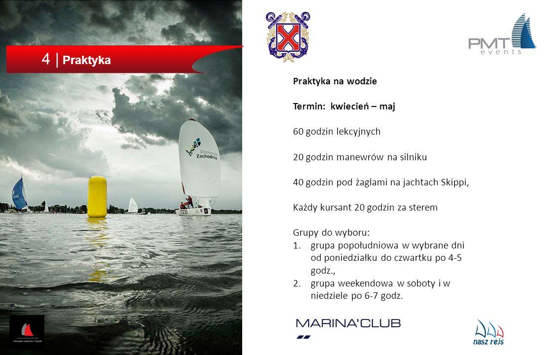 4 | Praktyka Praktyka na wodzie Termin: kwiecień – maj 60 godzin lekcyjnych 20 godzin manewrów na silniku 40 godzin pod żaglami na jachtach Skippi, Ka
