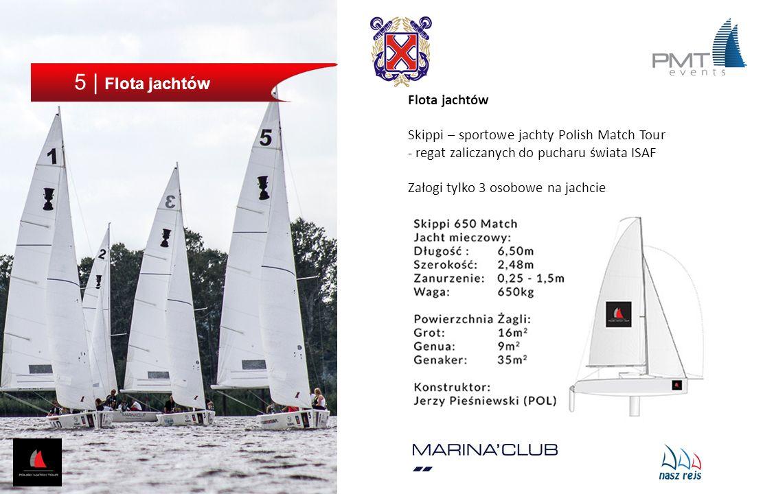 5 | Flota jachtów Flota jachtów Skippi – sportowe jachty Polish Match Tour - regat zaliczanych do pucharu świata ISAF Załogi tylko 3 osobowe na jachci