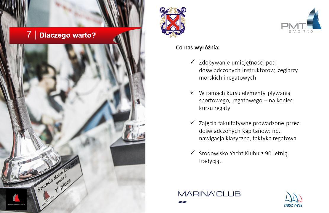 7 | Dlaczego warto? Co nas wyróżnia: Zdobywanie umiejętności pod doświadczonych instruktorów, żeglarzy morskich i regatowych W ramach kursu elementy p