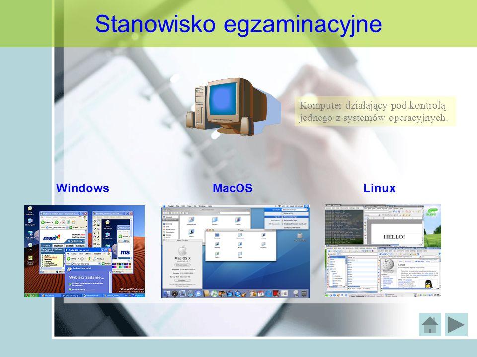 Stanowisko egzaminacyjne Komputer działający pod kontrolą jednego z systemów operacyjnych. WindowsMacOSLinux