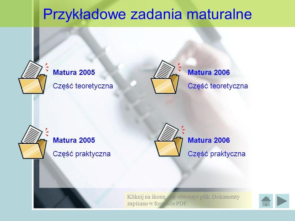 Przykładowe zadania maturalne Matura 2005 Część teoretyczna Matura 2005 Część praktyczna Matura 2006 Część teoretyczna Matura 2006 Część praktyczna Kl