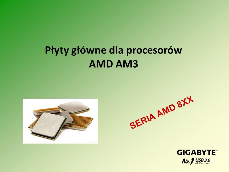Porównanie płyt dla procesorów AM3 ModelGA-890FXA-UD5 (2.0)GA-890GPA-UD3H (2.0)GA-890XA-UD3 (2.0) ChipsetAMD 890FX + SB850AMD 890GX + SB850AMD 790X + SB850 Szyna systemowa 5200 MHz PamięćDwa kanały, 4 DIMM DDR3 (1866+)/1333/1066 Złącze graficzne 3*PCI Express x16 2.0 (2x16 lub 1x16 i 2x8) ATI HD4290 + 2*PCI Express x16 2.0 (x16 lub x8, x8) 2*PCI Express x16 2.0 (x16 lub x8, x8) SATA &RAID 6 SATA 3 + 4 +SATA 2 + 1 PATA RAID (0, 1, 5, 0+1, JBOD) 6 SATA 3 + 2 SATA 2 + 1 PATA RAID (0, 1, 5, 0+1, JBOD) 6 SATA 3 + 4 +SATA 2 + 1 PATA RAID (0, 1, 5, 0+1, JBOD) AudioALC889ALC892 Wymiary ATX (305x244) Ważniejsze technologie DUAL BIOS, EES Powrót do oferty NAGRODY