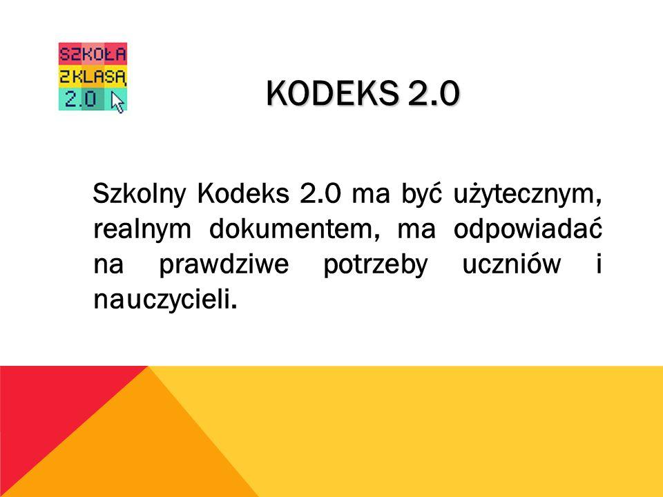 Szkolny Kodeks 2.0 ma być użytecznym, realnym dokumentem, ma odpowiadać na prawdziwe potrzeby uczniów i nauczycieli. KODEKS 2.0