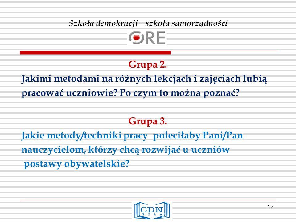 Szkoła demokracji – szkoła samorządności Grupa 2.