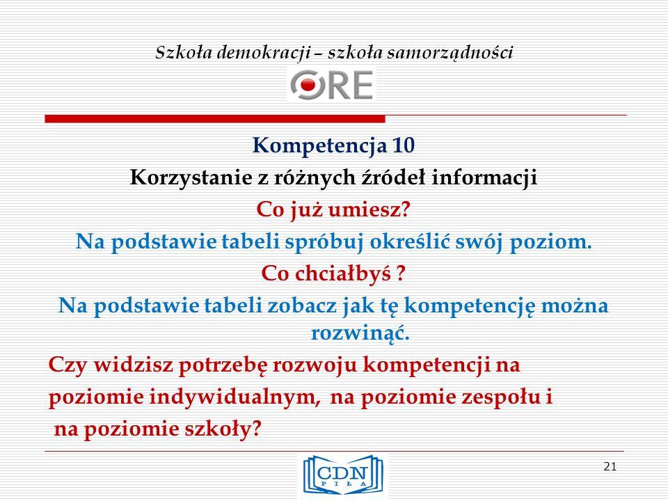 Szkoła demokracji – szkoła samorządności Kompetencja 10 Korzystanie z różnych źródeł informacji Co już umiesz? Na podstawie tabeli spróbuj określić sw