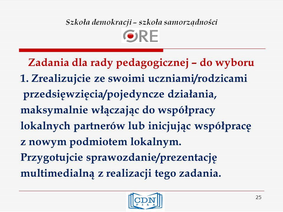 Szkoła demokracji – szkoła samorządności Zadania dla rady pedagogicznej – do wyboru 1.