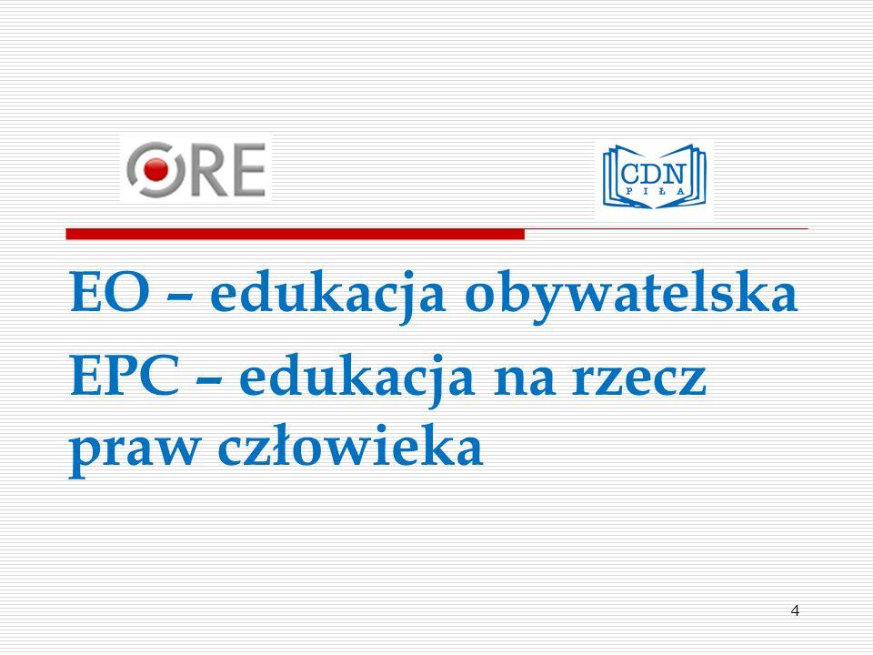 Kompetencje z grupy A Rozumienie EO/EPC Kompetencje z grupy B Nauczanie EO/EPC Kompetencje z grupy C EO/EPC w działaniu Kompetencje z grupy D Ewaluacja EO/EPC Kompetencja 1.