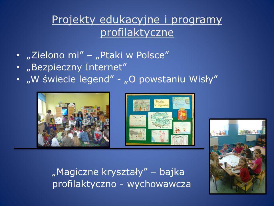 Projekty edukacyjne i programy profilaktyczne Zielono mi – Ptaki w Polsce Bezpieczny Internet W świecie legend - O powstaniu Wisły Magiczne kryształy