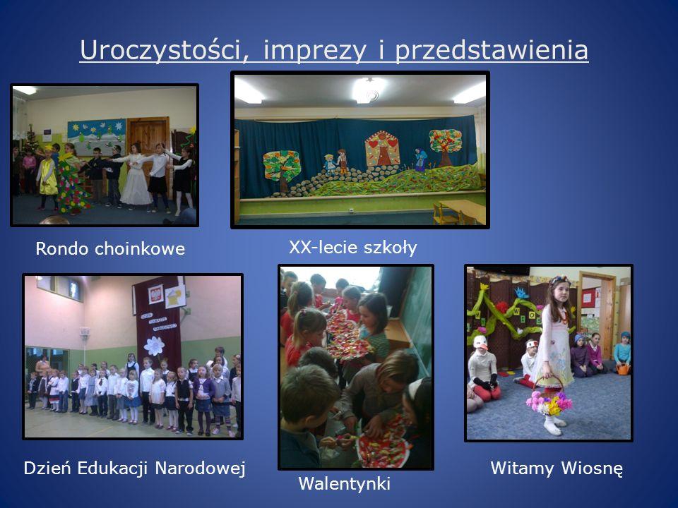 Uroczystości, imprezy i przedstawienia Rondo choinkowe Dzień Edukacji Narodowej Walentynki XX-lecie szkoły Witamy Wiosnę