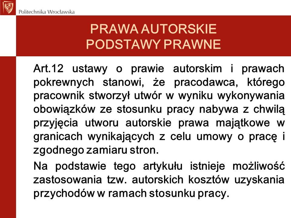 PRAWA AUTORSKIE PODSTAWY PRAWNE Art.12 ustawy o prawie autorskim i prawach pokrewnych stanowi, że pracodawca, którego pracownik stworzył utwór w wynik