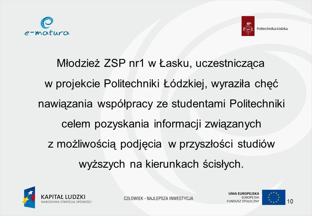 Młodzież ZSP nr1 w Łasku, uczestnicząca w projekcie Politechniki Łódzkiej, wyraziła chęć nawiązania współpracy ze studentami Politechniki celem pozyskania informacji związanych z możliwością podjęcia w przyszłości studiów wyższych na kierunkach ścisłych.