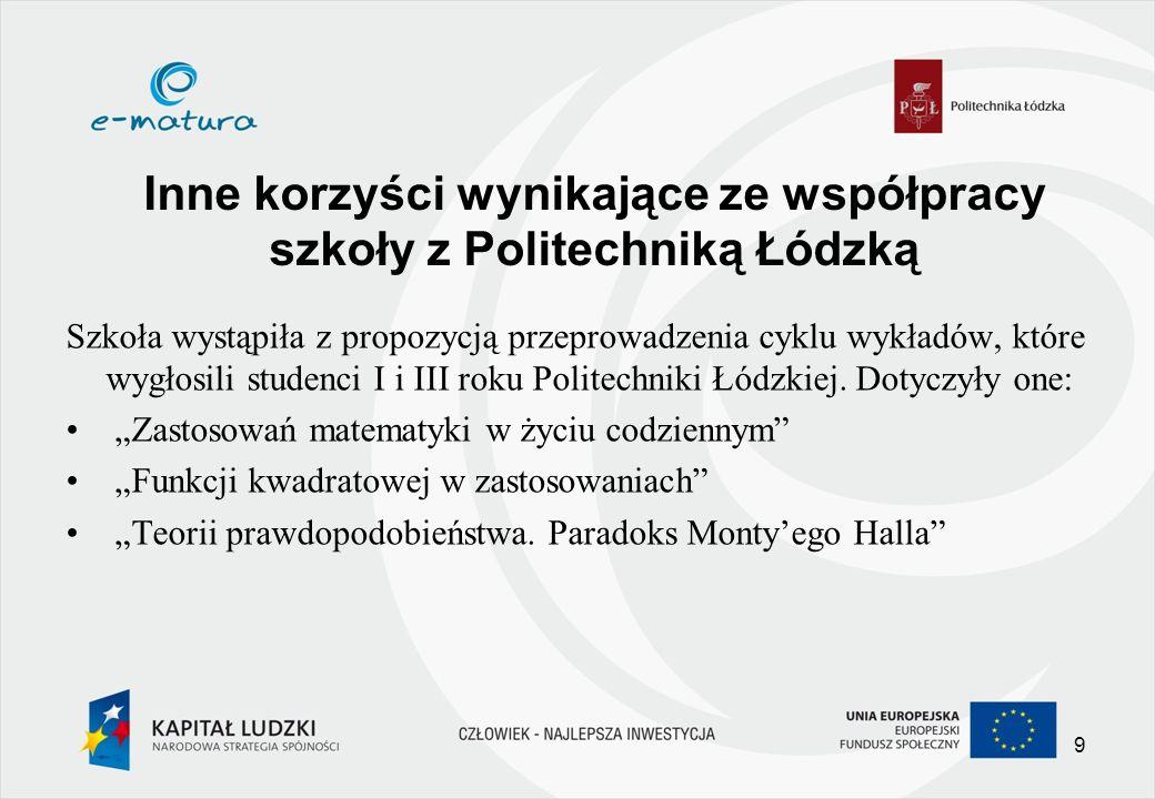 Inne korzyści wynikające ze współpracy szkoły z Politechniką Łódzką Szkoła wystąpiła z propozycją przeprowadzenia cyklu wykładów, które wygłosili studenci I i III roku Politechniki Łódzkiej.