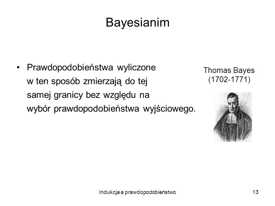 Indukcja a prawdopodobieństwo13 Bayesianim Prawdopodobieństwa wyliczone w ten sposób zmierzają do tej samej granicy bez względu na wybór prawdopodobie