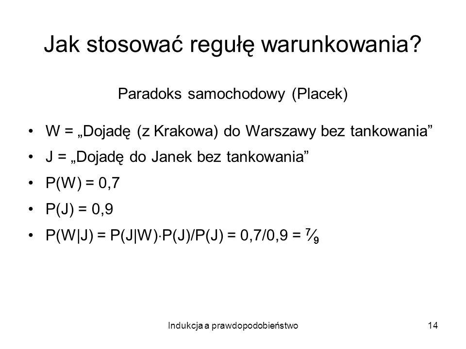 Indukcja a prawdopodobieństwo14 Jak stosować regułę warunkowania? Paradoks samochodowy (Placek) W = Dojadę (z Krakowa) do Warszawy bez tankowania J =
