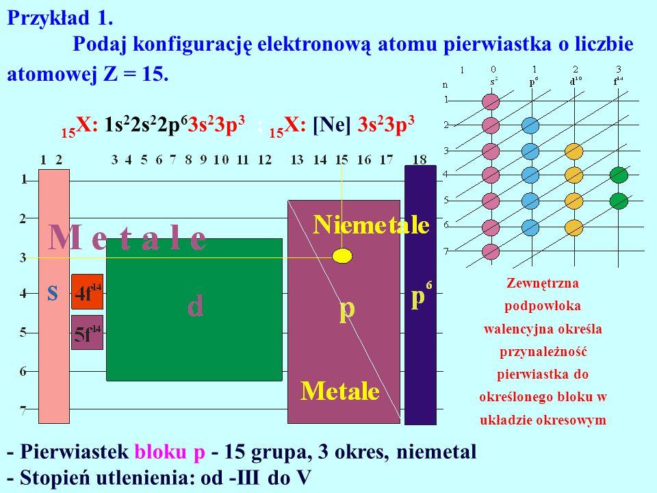 Przykład 1. Podaj konfigurację elektronową atomu pierwiastka o liczbie atomowej Z = 15. 15 X: 1s 2 2s 2 2p 6 3s 2 3p 3 ; 15 X: [Ne] 3s 2 3p 3 - Pierwi