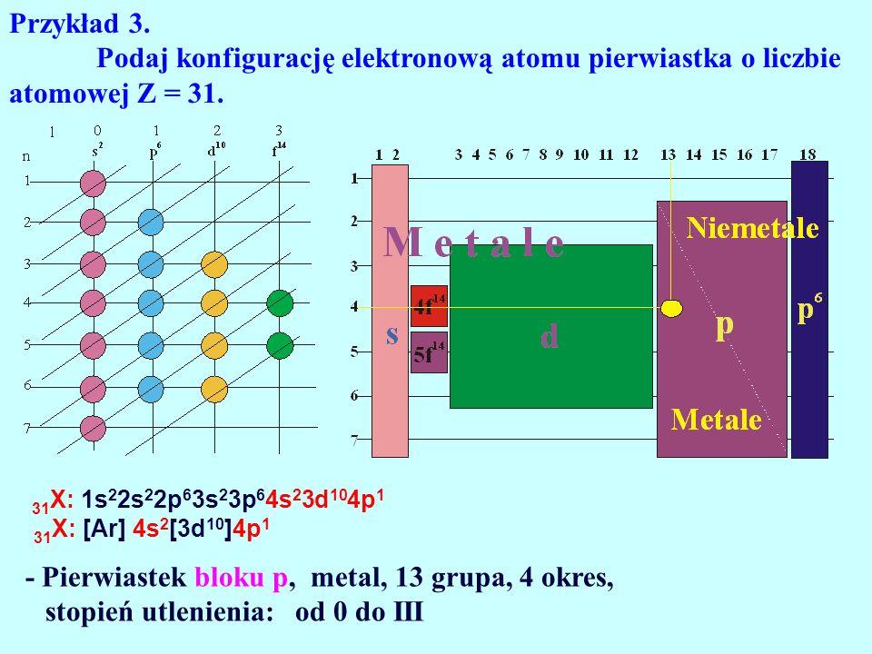 Przykład 3. Podaj konfigurację elektronową atomu pierwiastka o liczbie atomowej Z = 31. 31 X: 1s 2 2s 2 2p 6 3s 2 3p 6 4s 2 3d 10 4p 1 31 X: [Ar] 4s 2