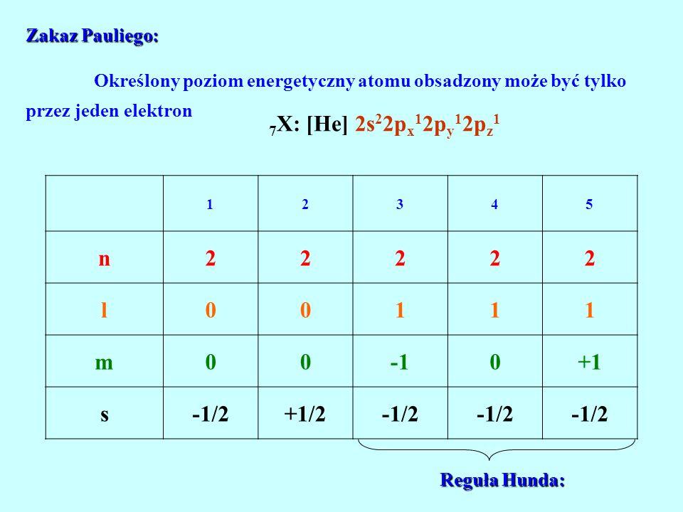 Zakaz Pauliego: Zakaz Pauliego: Określony poziom energetyczny atomu obsadzony może być tylko przez jeden elektron 7 X: [He] 2s 2 2p x 1 2p y 1 2p z 1