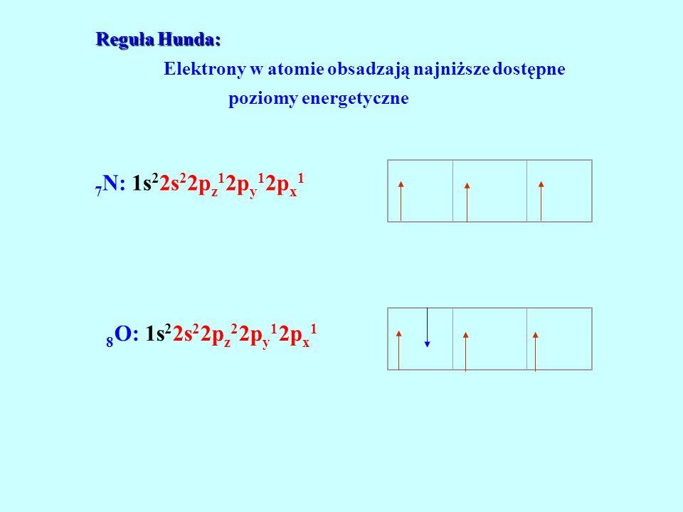 Elektrony w atomie obsadzają najniższe dostępne poziomy energetyczne 7 N: 1s 2 2s 2 2p z 1 2p y 1 2p x 1 8 O: 1s 2 2s 2 2p z 2 2p y 1 2p x 1