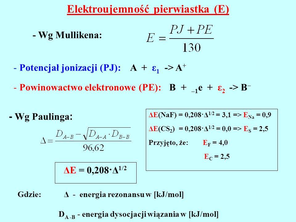 Elektroujemność pierwiastka (E) - Wg Mullikena: - Potencjał jonizacji (PJ): A + ε 1 -> A + - Powinowactwo elektronowe (PE): B + –1 e + ε 2 -> B – ΔE =