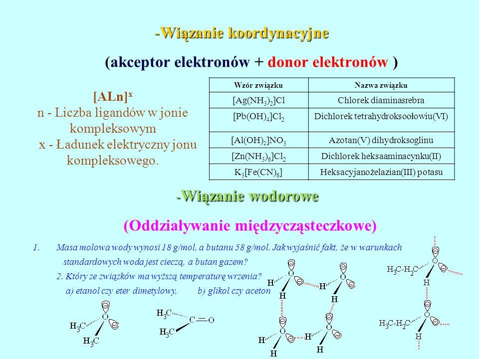-Wiązanie koordynacyjne -Wiązanie koordynacyjne (akceptor elektronów + donor elektronów ) - Wiązanie wodorowe (Oddziaływanie międzycząsteczkowe) [ALn]