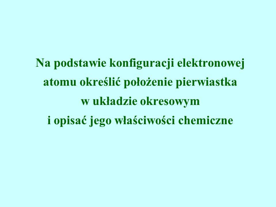 Na podstawie konfiguracji elektronowej atomu określić położenie pierwiastka w układzie okresowym i opisać jego właściwości chemiczne