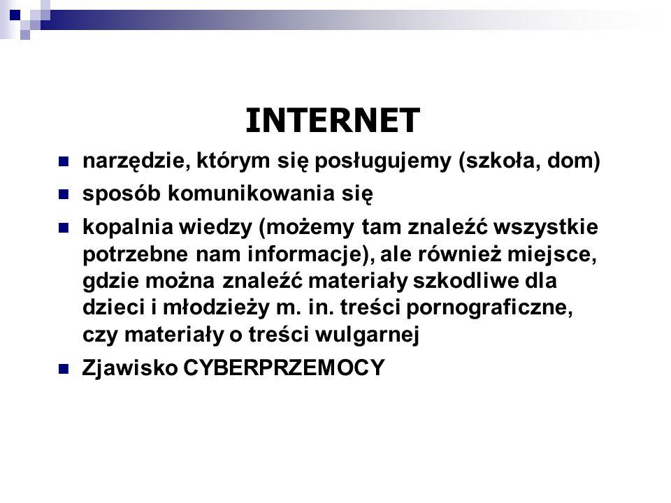 CYBERPRZEMOC – przemoc psychiczna z użyciem nowych technologii – Internetu i telefonu komórkowego.