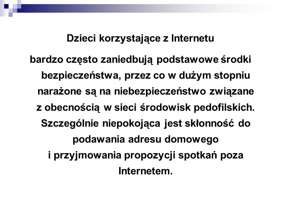 WAŻNE ADRESY www.Sieciaki.pl www.DzieckoWsieci.pl www.Dyzurnet.pl www.Kidprotect.pl www.Helpline.org.pl www.StopPedofilom.pl www.BezpiecznyInternet.org