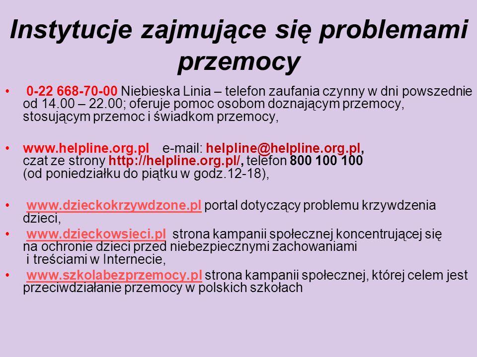 Instytucje zajmujące się problemami przemocy 0-22 668-70-00 Niebieska Linia – telefon zaufania czynny w dni powszednie od 14.00 – 22.00; oferuje pomoc