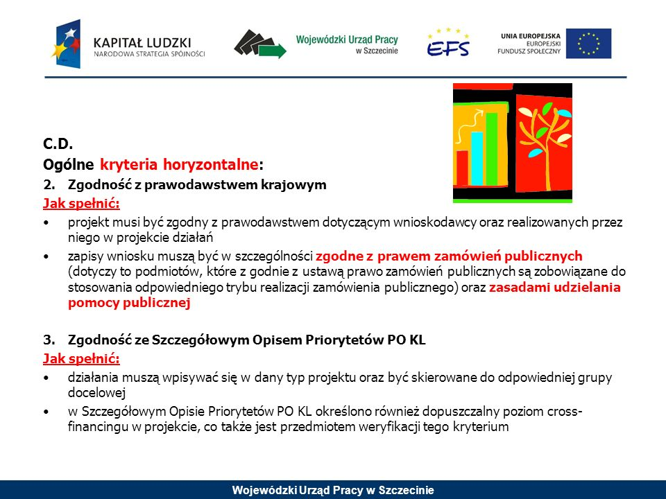 Wojewódzki Urząd Pracy w Szczecinie C.D. Ogólne kryteria horyzontalne: 2.Zgodność z prawodawstwem krajowym Jak spełnić: projekt musi być zgodny z praw