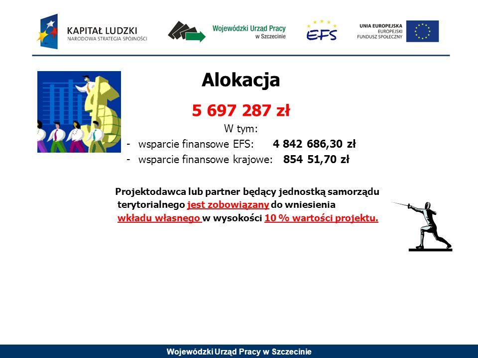 Wojewódzki Urząd Pracy w Szczecinie Alokacja 5 697 287 zł W tym: -wsparcie finansowe EFS: 4 842 686,30 zł -wsparcie finansowe krajowe: 854 51,70 zł Projektodawca lub partner będący jednostką samorządu terytorialnego jest zobowiązany do wniesienia wkładu własnego w wysokości 10 % wartości projektu.