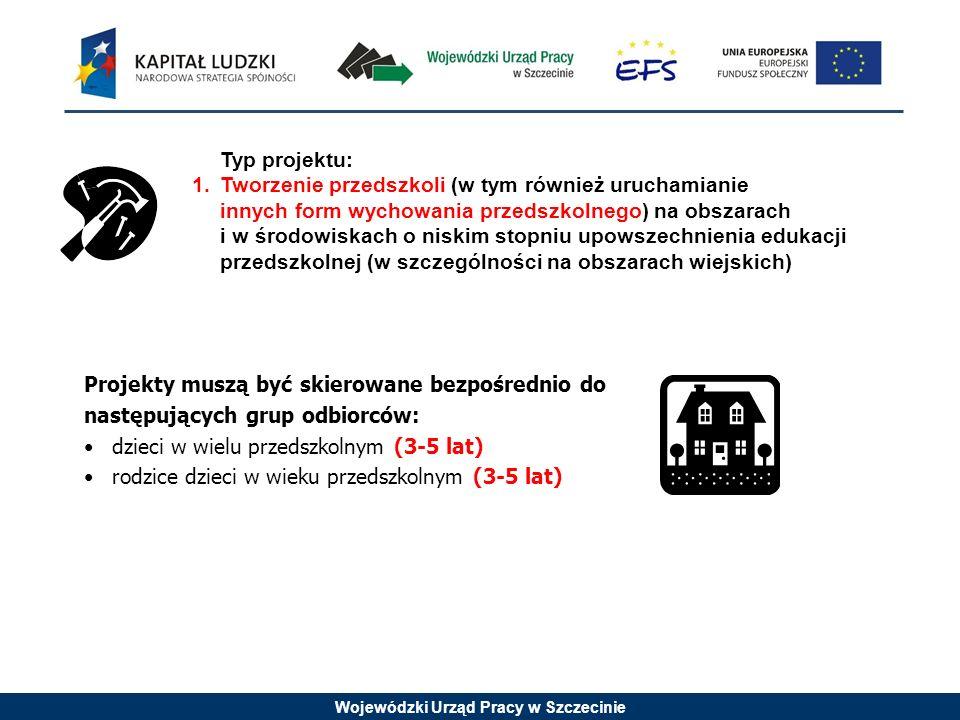 Wojewódzki Urząd Pracy w Szczecinie Projekty muszą być skierowane bezpośrednio do następujących grup odbiorców: dzieci w wielu przedszkolnym (3-5 lat)