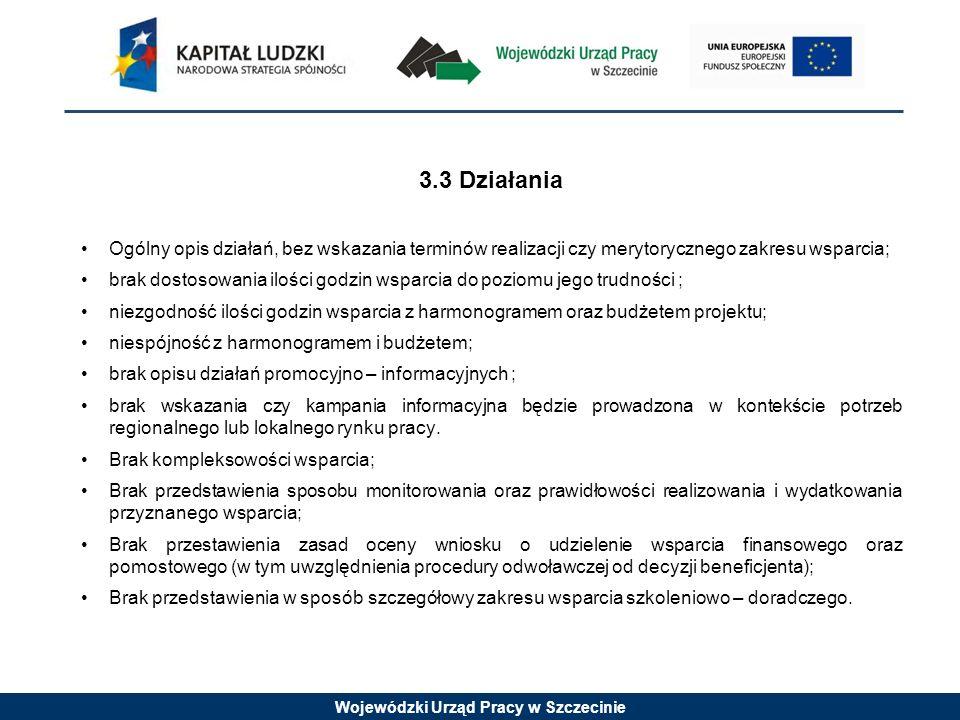 Wojewódzki Urząd Pracy w Szczecinie 3.3 Działania Ogólny opis działań, bez wskazania terminów realizacji czy merytorycznego zakresu wsparcia; brak dos