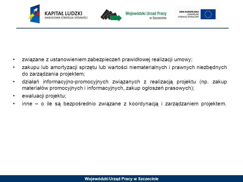 Wojewódzki Urząd Pracy w Szczecinie związane z ustanowieniem zabezpieczeń prawidłowej realizacji umowy; zakupu lub amortyzacji sprzętu lub wartości ni