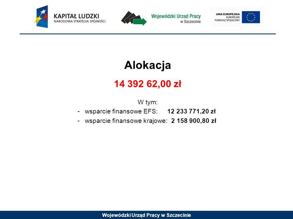 Wojewódzki Urząd Pracy w Szczecinie Alokacja 14 392 62,00 zł W tym: -wsparcie finansowe EFS: 12 233 771,20 zł -wsparcie finansowe krajowe: 2 158 900,80 zł