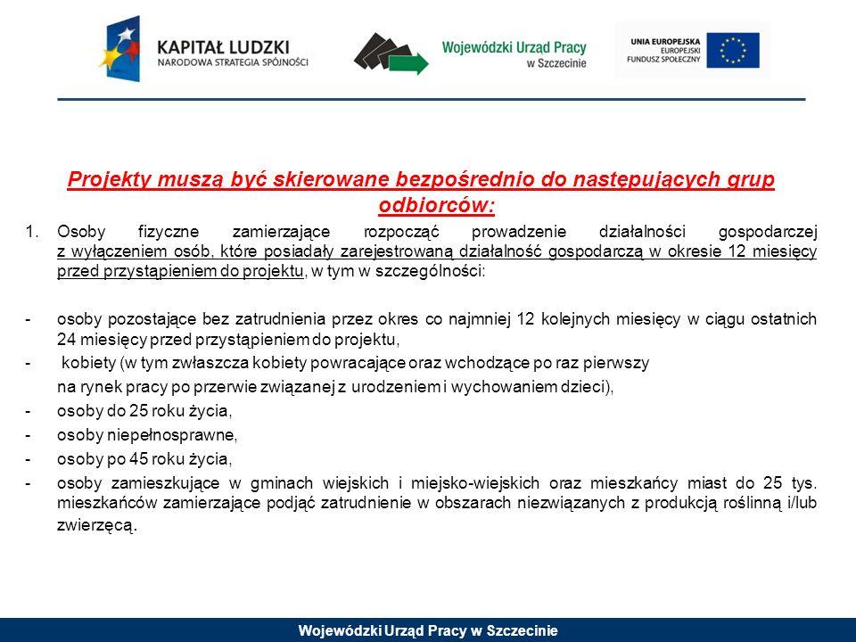 Wojewódzki Urząd Pracy w Szczecinie Projekty muszą być skierowane bezpośrednio do następujących grup odbiorców: 1.Osoby fizyczne zamierzające rozpoczą