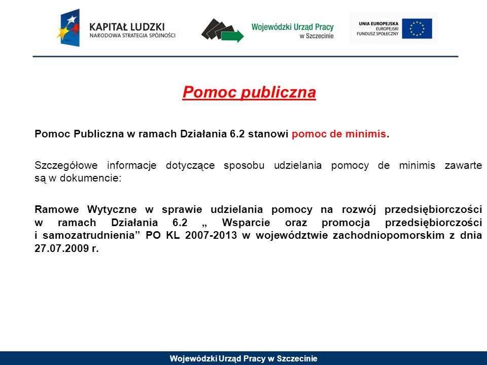 Wojewódzki Urząd Pracy w Szczecinie Pomoc publiczna Pomoc Publiczna w ramach Działania 6.2 stanowi pomoc de minimis. Szczegółowe informacje dotyczące