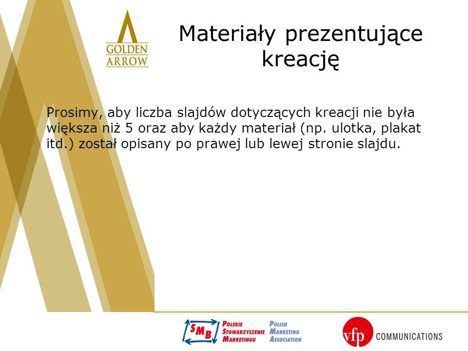 Materiały prezentujące kreację Prosimy, aby liczba slajdów dotyczących kreacji nie była większa niż 5 oraz aby każdy materiał (np.