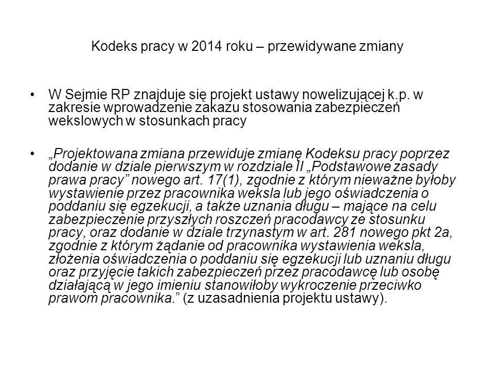 Kodeks pracy w 2014 roku – przewidywane zmiany W Sejmie RP znajduje się projekt ustawy nowelizującej k.p. w zakresie wprowadzenie zakazu stosowania za