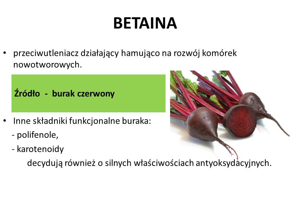 BETAINA Źródło - burak czerwony przeciwutleniacz działający hamująco na rozwój komórek nowotworowych. Inne składniki funkcjonalne buraka: - polifenole