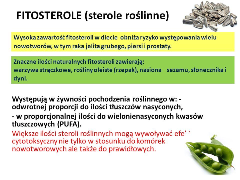 Występują w żywności pochodzenia roślinnego w: - odwrotnej proporcji do ilości tłuszczów nasyconych, - w proporcjonalnej ilości do wielonienasyconych
